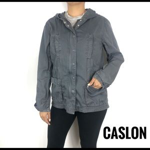 Caslon Grey Zip Up Utility Jacket Size Small